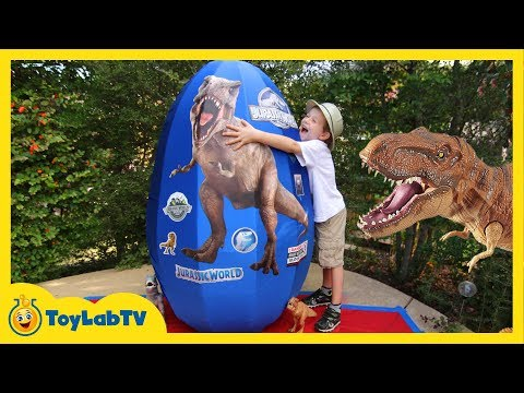 GIANT EGG SURPRISE OPENING Jurassic World Dinosaur Toys Kids Video