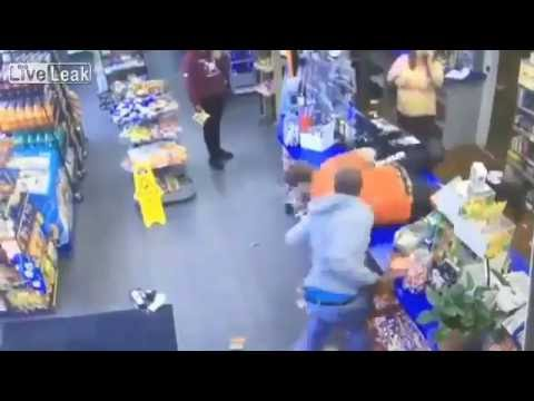 Pregnant gas station worker attacked, employees fight back