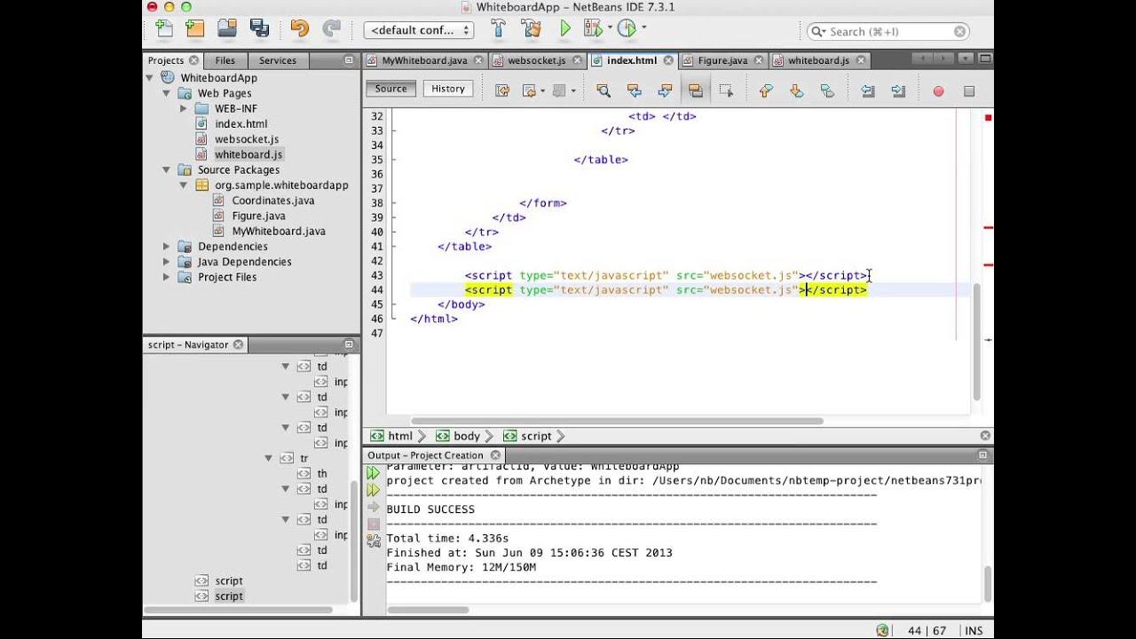 Using the WebSocket API in a Web Application
