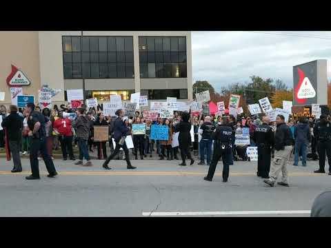 Trump protest at McKenzie Arena UTC
