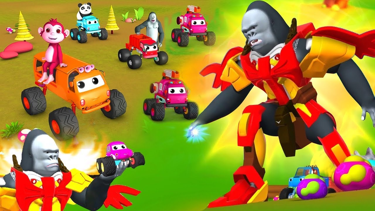 Transformers Gorilla with Monster Cars in Funny Animals | 3D Animated Comedy Videos