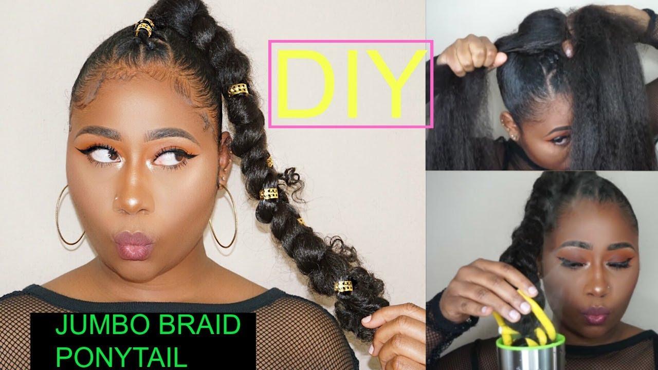 diy jumbo braid goddess ponytail protective style youtube