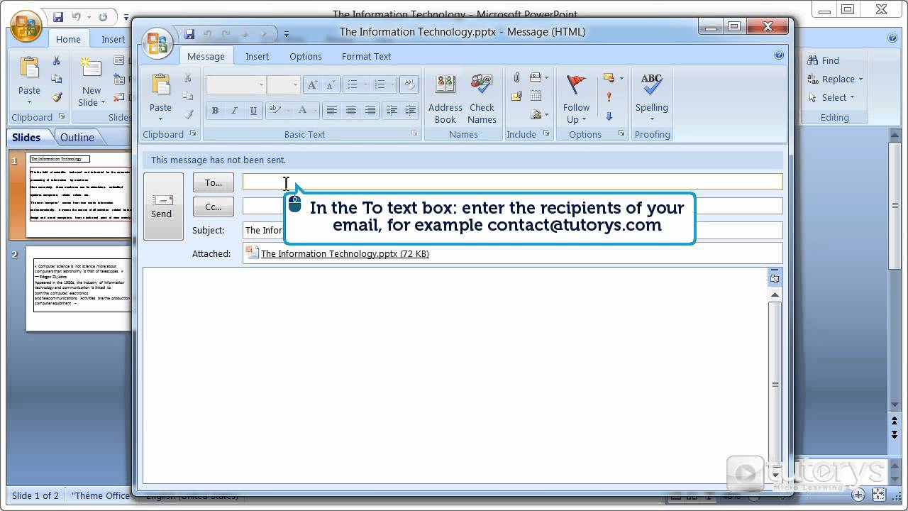 how to send an email presentation with powerpoint 2007 youtube