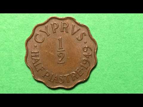 Cyprus 1/2 Half Piastre Coin 1949 Great Britain Protectorates Post War Coinage