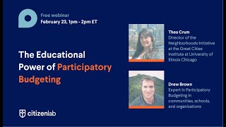 Webinar | The Educational Power of Participatory Budgeting