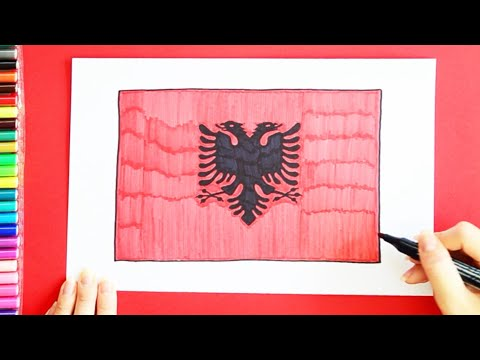 How to draw and color National Flag of Albania