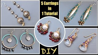 In this tutorial, i bring 5 simple earrings quickly made using simple tools and techniques. You can add variations with various colors of beads. Please do share ...