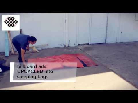 Used billboard ads UPCYCLED into sleeping bags for the homeless