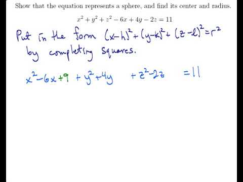 Write the equation of the sphere in standard form and find its ...