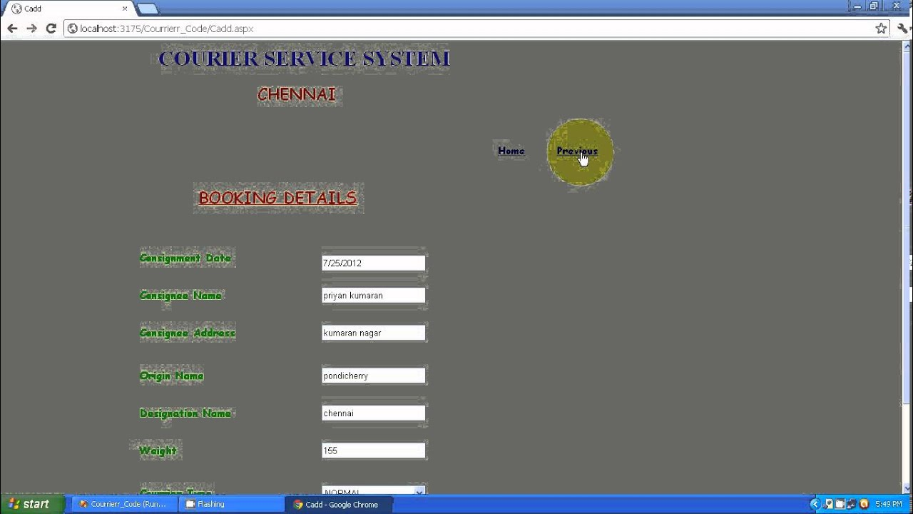 Courier Service Management System