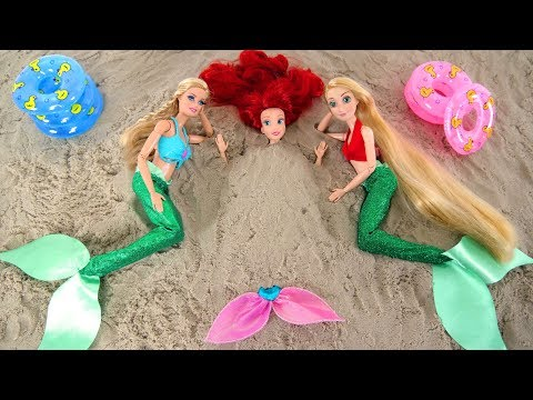 Mermaid Barbie Rapunzel Ariel Beach Pool Party Hair salon Putri duyung Boneka Barbie Sereia Boneca