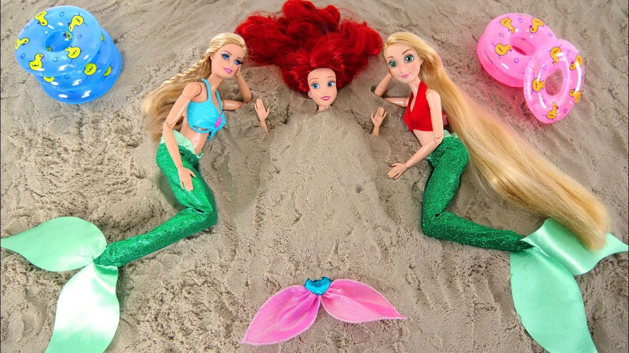 Mermaid Barbie Rapunzel Ariel Beach Pool Party Hair Salon Putri