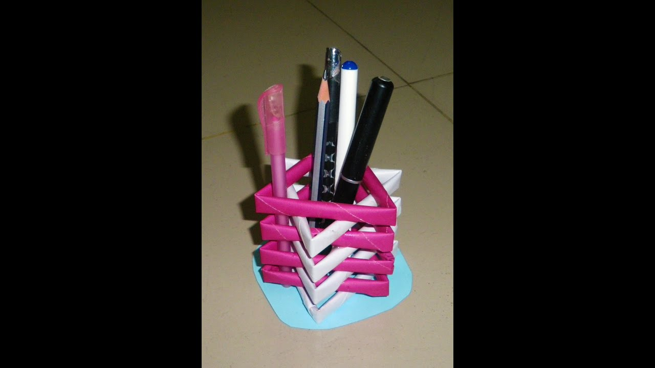 How to make a pen stand from waste material diy paper for Innovative things made from waste material