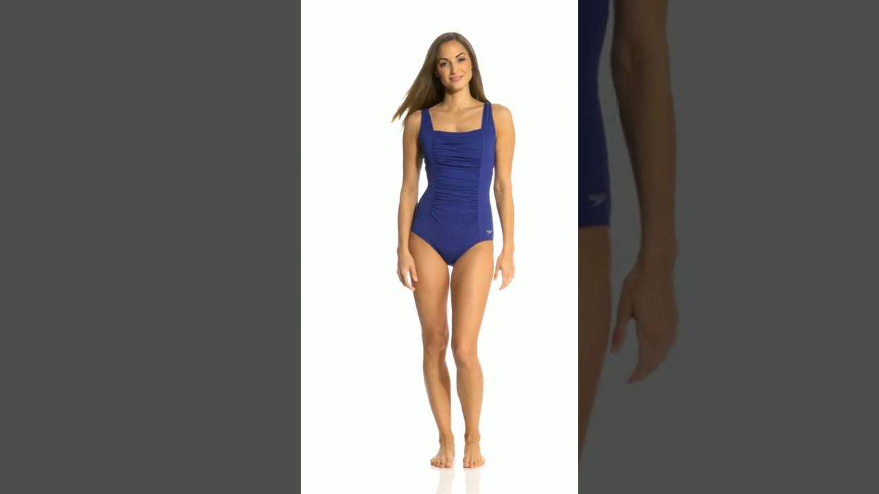 084c29972858b Speedo Endurance Women's Shirred Tank One Piece Swimsuit   SwimOutlet.com