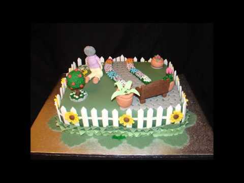 Garden Theme 80th Birthday Fondant Cake