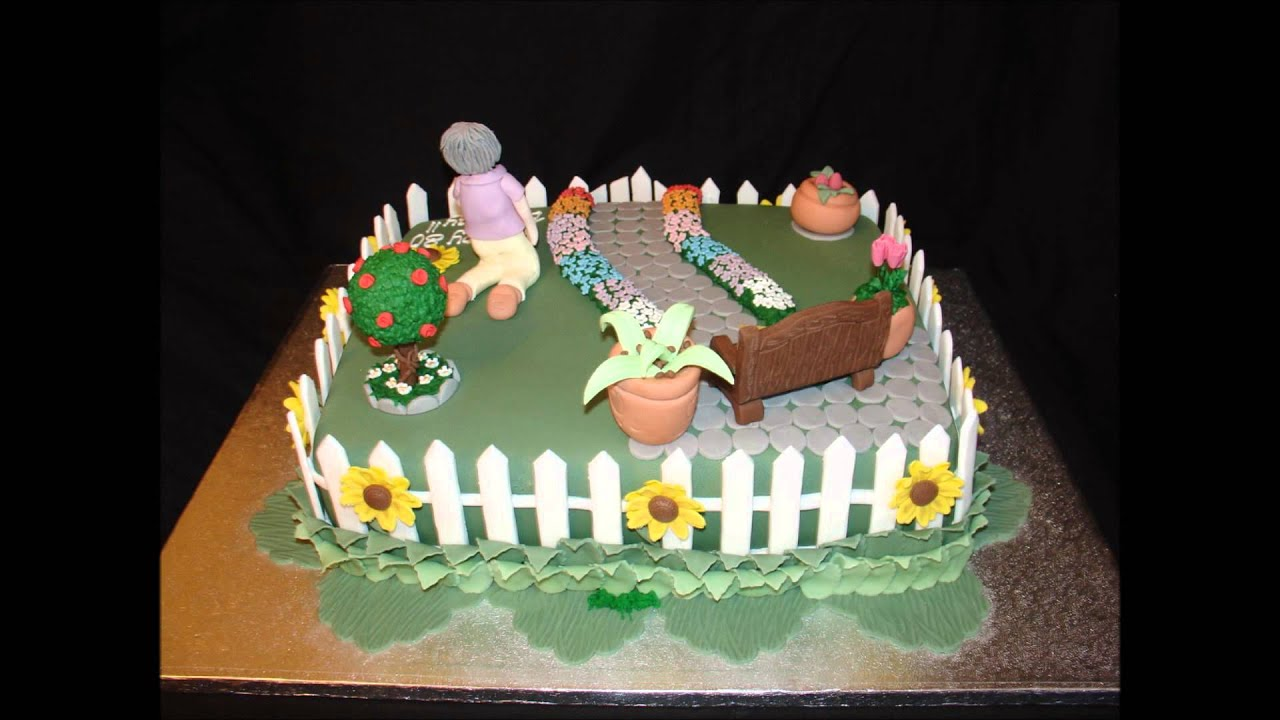 Garden theme 80th birthday fondant cake youtube for Gardening 80th birthday cake