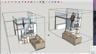 Mezzanine loft with step storage solution various glass options