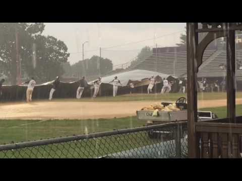 WATCH: Valley Blue Sox players can't get tarp unrolled in thunderstorm (video)
