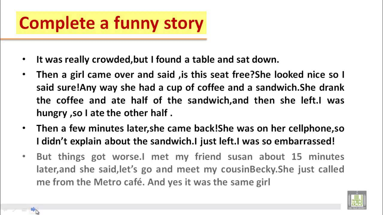 funny story in english essay book
