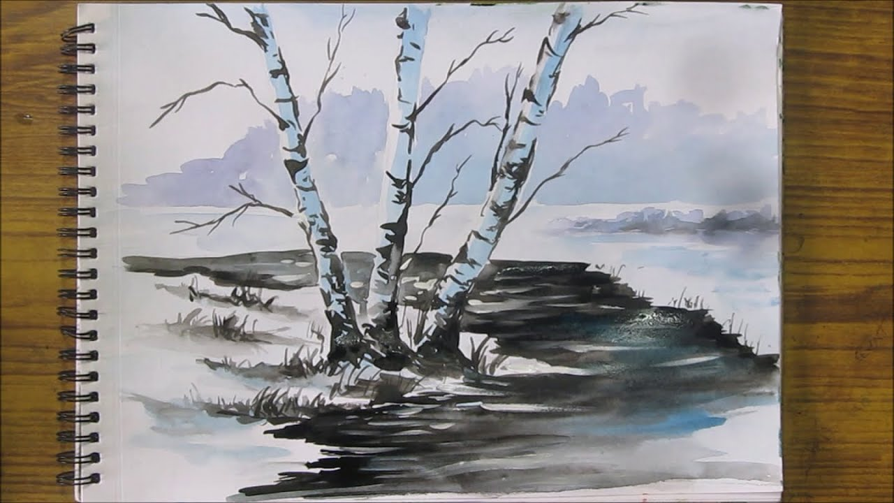 How to paint snow scene in watercolor watercolor painting for Watercolor scenes beginners