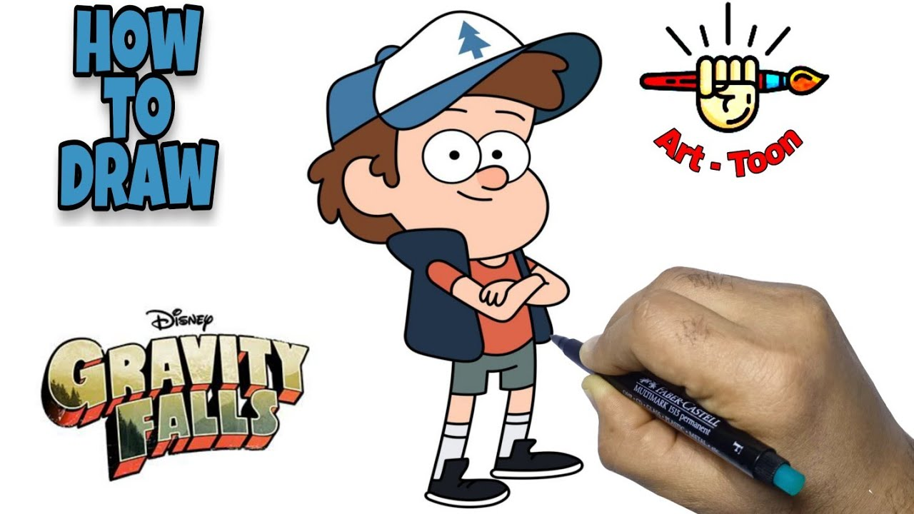 how to draw Dipper Pines from gravity falls step by step easy