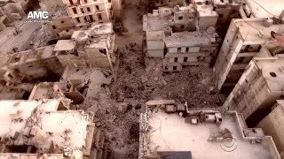 Syrian and Russian airstrikes flattening Aleppo