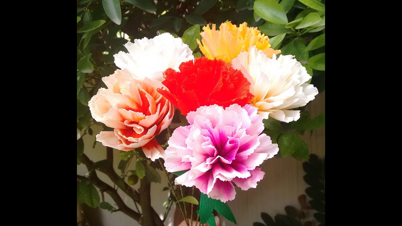 How to make paper flower 2 colour carnations flower 63 youtube mightylinksfo