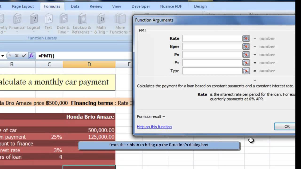 how to use pmt function to calculate a monthly car payment in excel