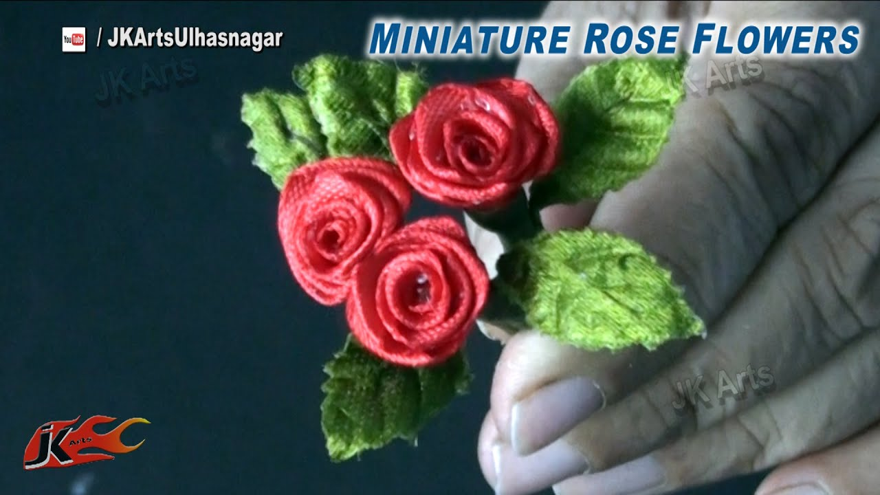 Mini Rose Flowers From Satin Ribbon  Valentine's Rose Day  Diy How To Make   Jk Arts 843