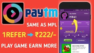 MPL का बाप WinZo Gold ! Per Refer ₹222 Free PayTM Cash ! Best Refer & Earn App
