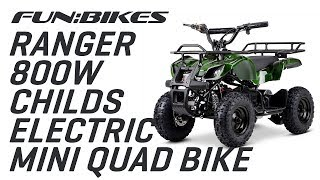Product Overview: FunBikes Ranger 800w Camo Childs Electric Mini Quad Bike