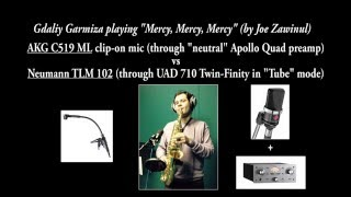 AKG C519 ML+neutral preamp vs Neumann TLM 102+UAD 710 Twin-Finity comparison on alto saxophone
