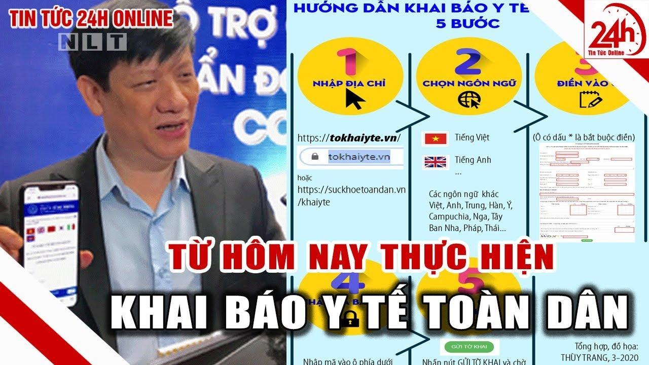 Khai báo y tế toàn dân bắt đầu thực hiện từ hôm nay | Tin tức Việt Nam mới nhất | Tin tức 24h TT24h