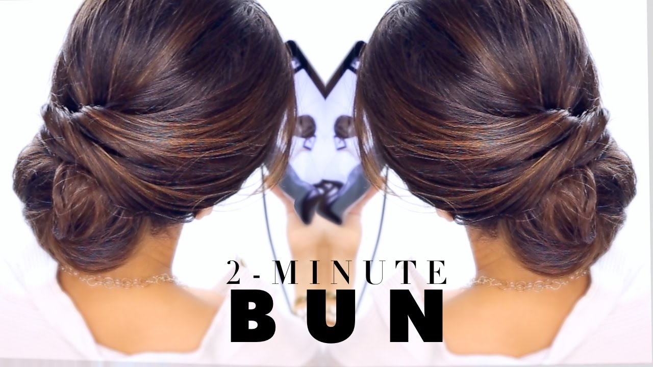 2 Minute Elegant BUN Hairstyle ☆ EASY Updo Hairstyles   YouTube