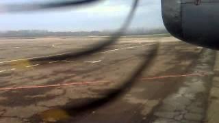 АН-24. Запуск двигателей в Тамбове и взлет