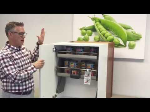 Hafele Imove Pull Down Cabinet Storage Shelves Frameless Installation Kitchensource Com Youtube