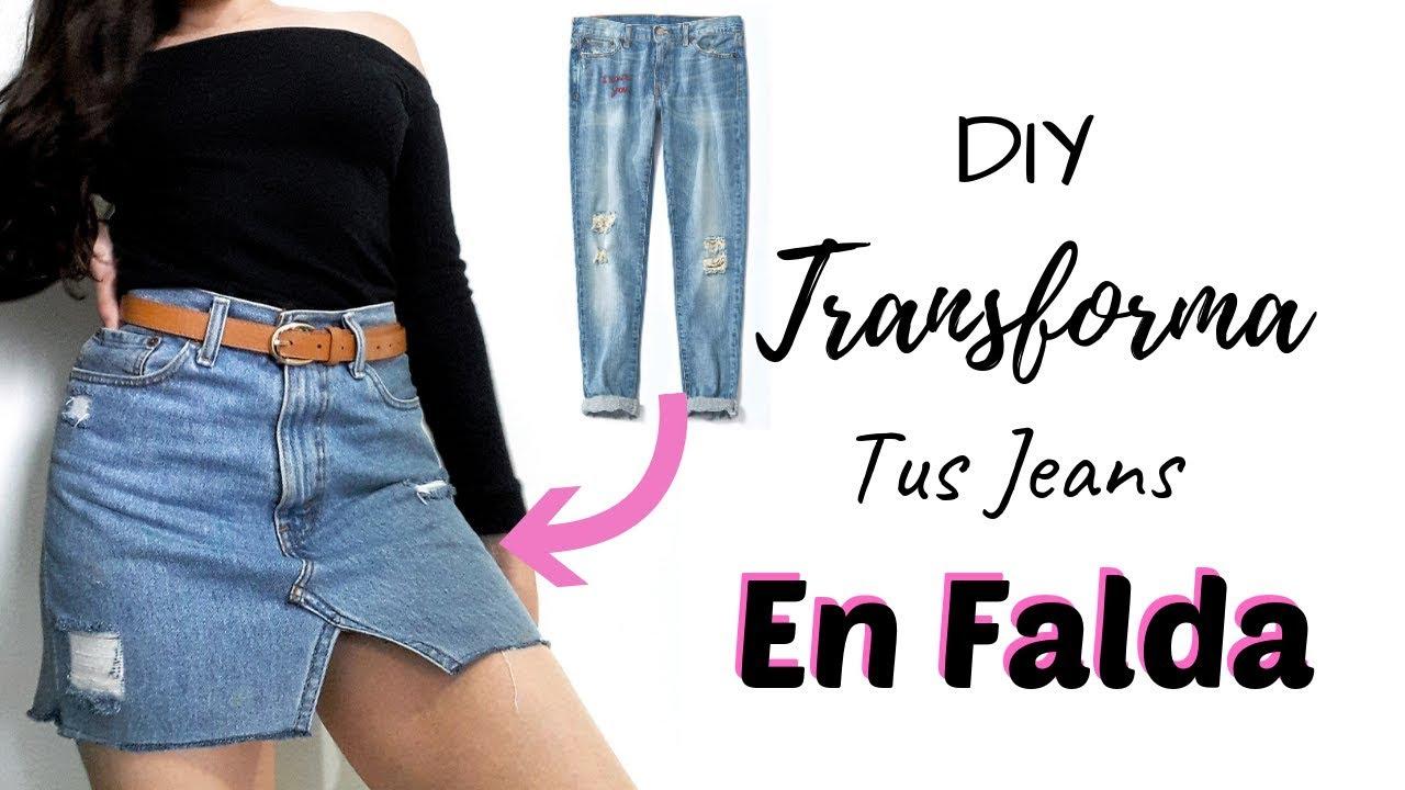 2973752a2 DIY como transformar unos jeans en falda super facil