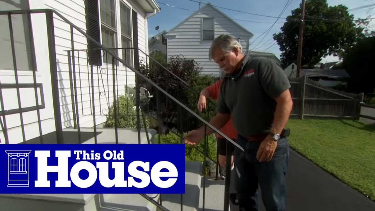 How To Repair A Rusted Wrought Iron Railing This Old House Youtube | Loose Railing In Concrete | Stairs | Concrete Steps | Cement | Aluminum | Stair Stringers