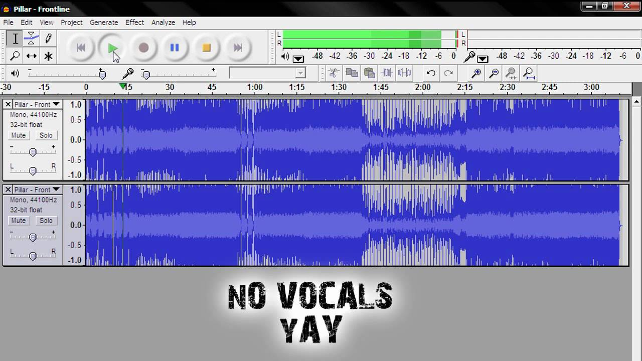 How to take out Vocals from a Song using Audacity