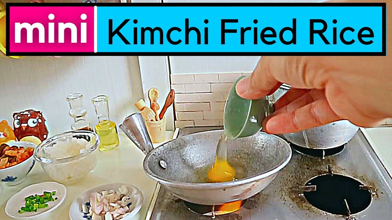 MINI FOOD KIMCHI FRIED RICE COOKING IN FULLY FUNCTIONAL MINIATURE KITCHEN SET [SUPER CUT] ASMR FOOD