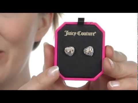 Juicy Couture Pave Heart Stud Earrings Sku 7965887