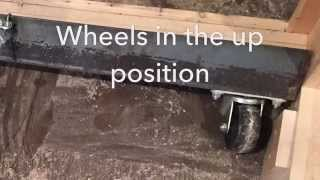 Rolling table saw cabinet