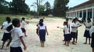 School girls playing in a Cambodia rural school