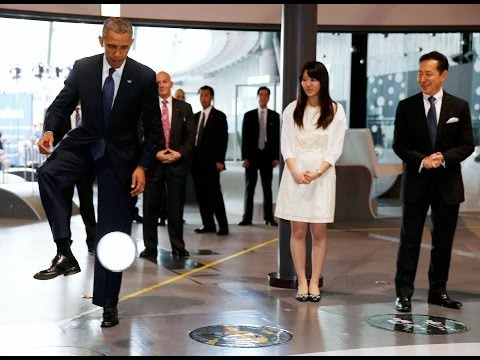 Barack Obama Gets A Kicking From Robot Soccer Ace In Japan