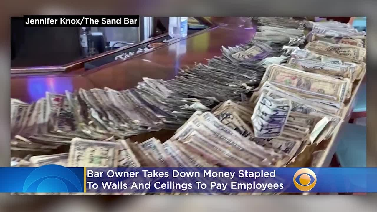 Bar Owner Takes Down Money Stapled To Walls And Ceilings To Pay Employees
