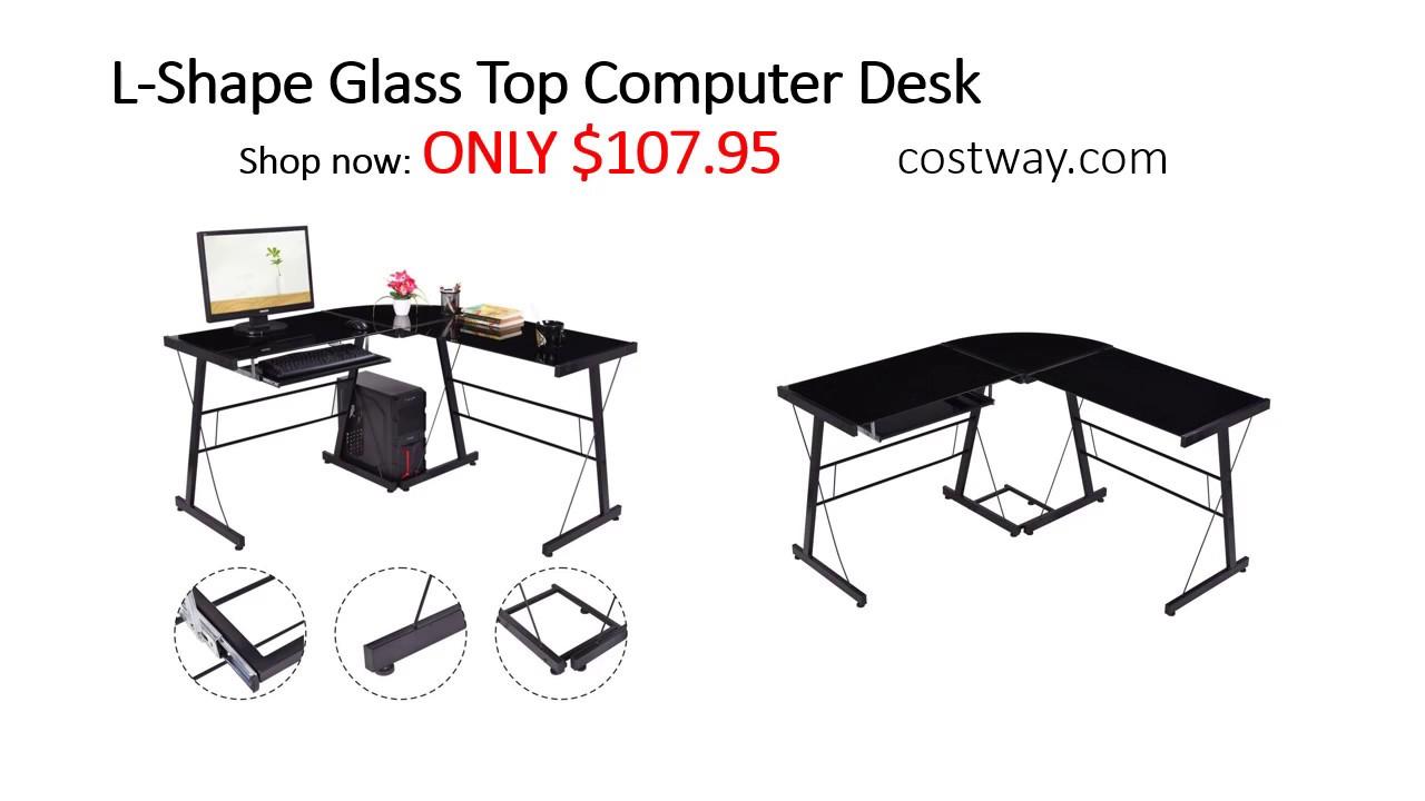 Costway L Shape Glass Top Computer Desk Assembly Instructions