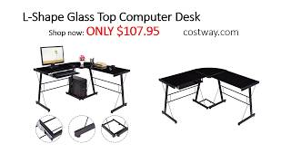 Costway L Shape Glass Top Computer Desk Assembly Instructions