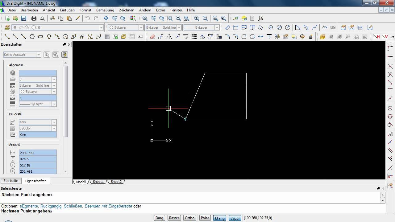 draftsight absolute und relative koordinateneingabe youtube. Black Bedroom Furniture Sets. Home Design Ideas