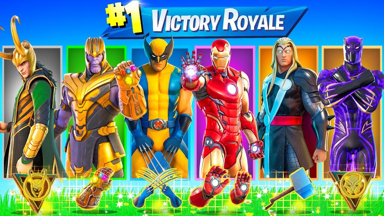 The RANDOM MARVEL BOSS Challenge in Fortnite (Loki, Thanos, Ironman, Wolverine, Black Panther, Thor)