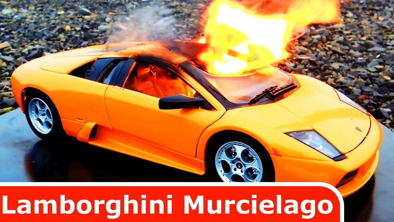Bon Lamborghini Murcielago Diecast Car Toy Is BURNING! Its On Fire!!!
